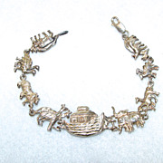 Sterling Silver Bracelet Noahs Ark and Animals