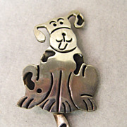 Sterling Silver Pin Happy Dog Smiling Pooch Wagging Tail
