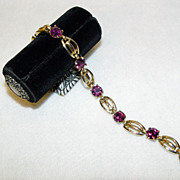 Kramer Bracelet Deep Purple Set Stones In Gold Tone Framework