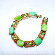 SOLD Bracelet Art Signed Lime Candy Green and Faux Coral Accent Drops