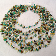 Natural Gem Stone Cascade Necklace Tiger Eye Turquoise Quartz