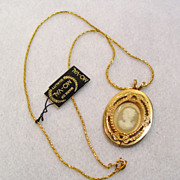Cameo Necklace UNUSED Vintage Store Stock Original Tag