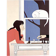 SOLD Will Barnet foil poster Fifth Season daughter feeding a small bird famous poster
