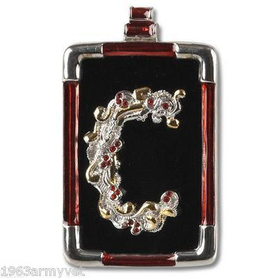 "Erte' Letter ""C"" Pendant/Brooch Onyx Backing Gold  Sterling Art to Wear reduced"