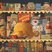 "Charles Wysocki framed Print Artist favorite ""Ethel the Gourmet"" great cat lovers gi"