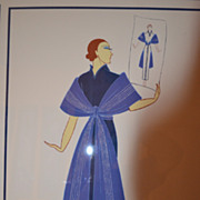 "Erte' Original Serigraph limited ""Blue Robe 1937 for ERTE PEOPLE Hand PulledREDUCE COA"