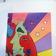 "peter max print  ""3 White  Flowers"" great shape museum mounted lowest price on the w"