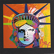 Peter Max print RedLiberty great shape museum mounted framed lowest price on the web