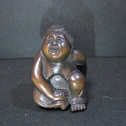 Wood sculpture 1940s signed folk art 1 only rare Japanese Netsuke LOWER 2 PAY DR