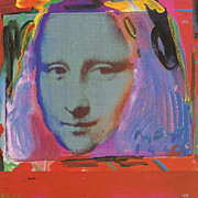 "peter max print  ""Mona Lisa red"" great shape museum framed great look past and Pop c"