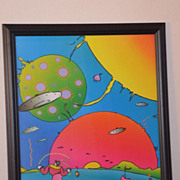 "peter max print  ""Flower Lady 1971"" great shape museum mounted lowest price on the w"