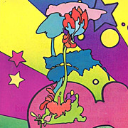 "peter max print  ""Cosmic ""Zen Flowers"" great shape museum framed 1971 Vip colle"