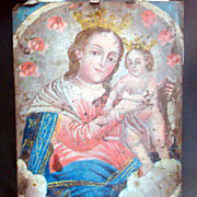 19th Century Mexican hand painted Retablo