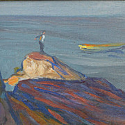 "SOLD Charles H. Woodbury (1864-1940) Oil Painting ""Man on Sighted Rock"""