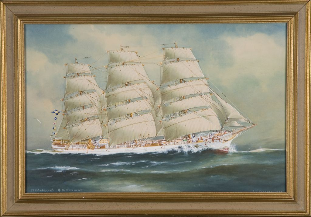 "A.V. Gregory ""The Ship Kennedy"" Mixed Media on Board"