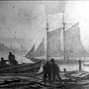 "Gordon Grant  (1875-1962) ""Foggy Harbor"" Etching"
