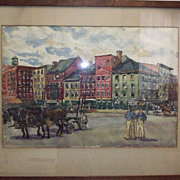 SOLD Joseph Golinkin &quot;Fulton Fish Market in New York&quot; Watercolor on Paper