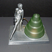 Art Deco Nude Boudoir Lamp with Green Conical Shade