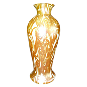 Signed Quezal Gold Hooked Feather Vase