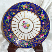 SALE Dresden  Ambrosius Lamm's Hand painted Cobalt Gold Pink Roses Plate