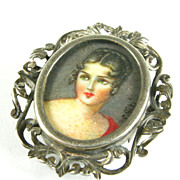 Antique Vintage Hand-Painted Signed Miniature Portrait Pin 800 Silver