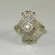 Ladies 18 karat 18k White Gold Edwardian 8pt SI HI Mine Cut Diamond Filigree Ring