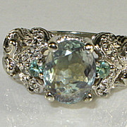 SOLD 1950s 3.05ct Natural ALEXANDRITE Diamond 14k 14 karat White Gold Ring.
