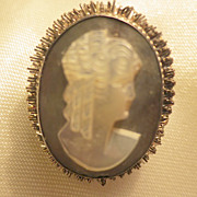 Iridescent Silver-Colored Mother of Pearl Cameo Pin