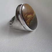 Sterling Ring with Green & Brown Agate