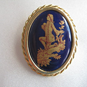 Limoges Painted Porcelain Brooch