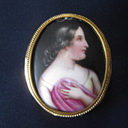 Painted Porcelain Classical Lady Brooch