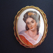 Limoges Painted Portrait Porcelain Brooch