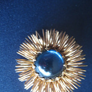 Vintage Costume Brooch with Blue Glass Center