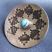 Native American Design Silver,Turquoise,& Copper Pin
