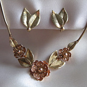 Krementz USA Gold Overlay Necklace and Earring Set