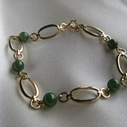 Krementz Nephrite Beads and Gold Overlay Bracelet