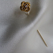 Love Knot Stickpin with Diamond Center