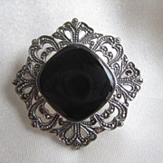 Gorgeous Onyx and Marcasite Silver Brooch