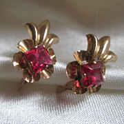 10K Gold and Red Gem Earrings