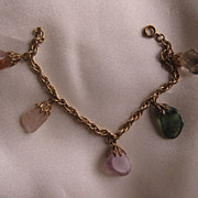 Multi-colored tumble stones and gold filled bracelet