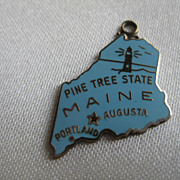 Sterling & Blue Enamel State of Maine Charm