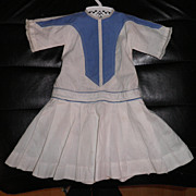"SOLD Antique Drop Waist Doll Dress - Blue and White Cotton 14"" Long"