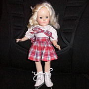 "SALE Vintage Doll - Ideal P-90 14"" Dressed Toni Doll - Skates!"