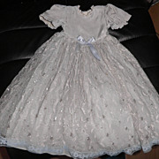 "SOLD Vintage Doll Dress -  18 "" Long - Pale Blue w/ Lace Overlay"