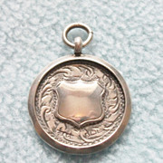 SOLD 1929 English Sterling Silver Watch Fob Medal - Engraved Pattern on Both Sides