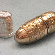 SOLD Antique 1904 Sterling Silver Thimble & Brass Thimble Case - Engraved Patterns