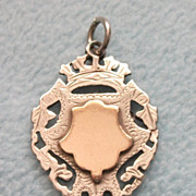 SOLD Antique 1908 Double Sided Sterling Silver & Rose Gold Watch Fob Medal - Pierced & Engrave