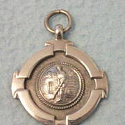 SOLD 1935 English SILVER Watch Fob Medal - Littlefield Cricket Club, Cricket Scene