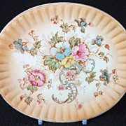 Antique Pottery Floral Patterned Tea Pot Stand / Trivet - Oval Shape - 6.6 Inches!