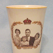 SOLD Original 1937 King George VI Coronation Beaker - Royal Family Portrait, &quot;Woods Ivory